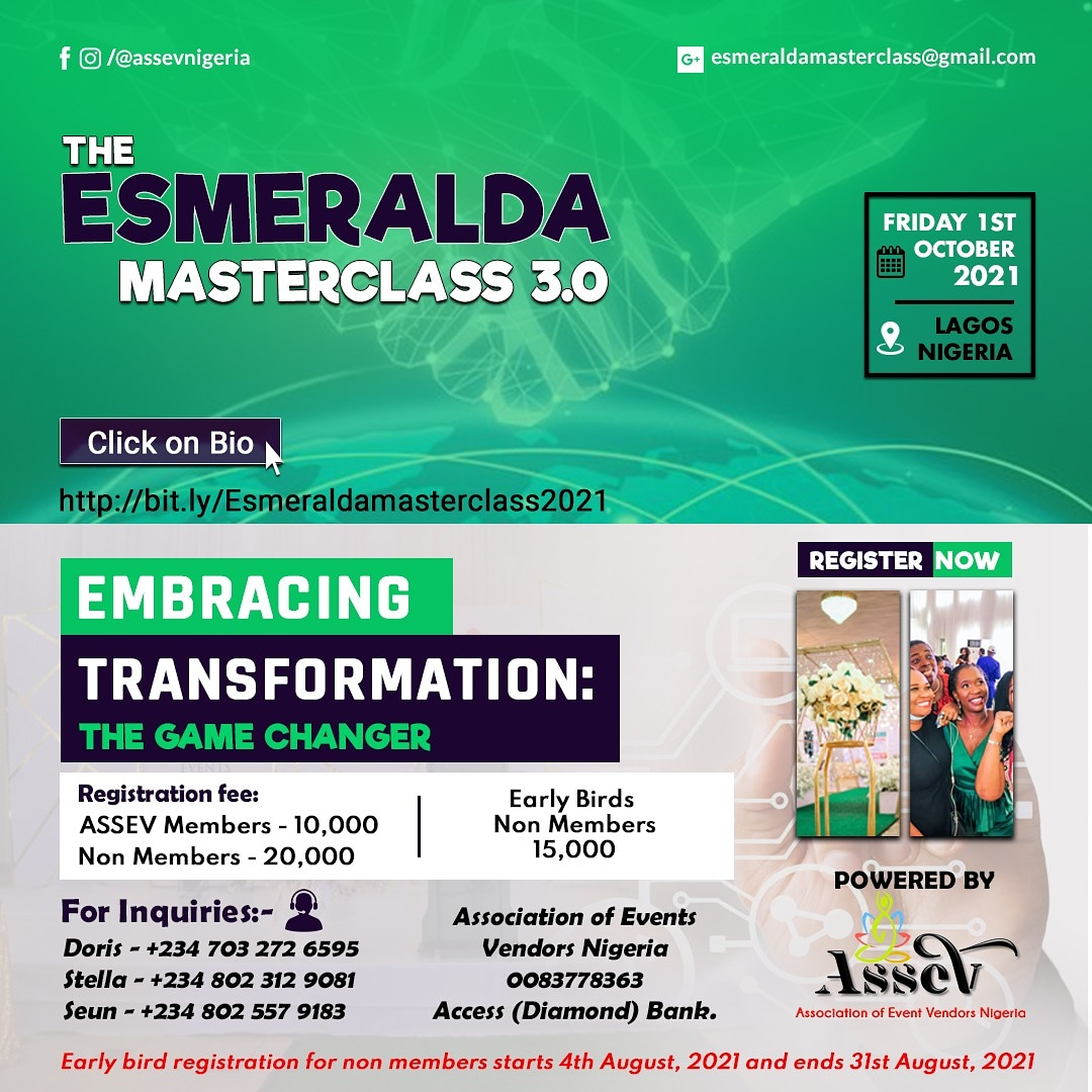 THE ESMERALDA MASTERCLASS Post free event in Nigeria using tickethub.ng, buy and sell tickets to event