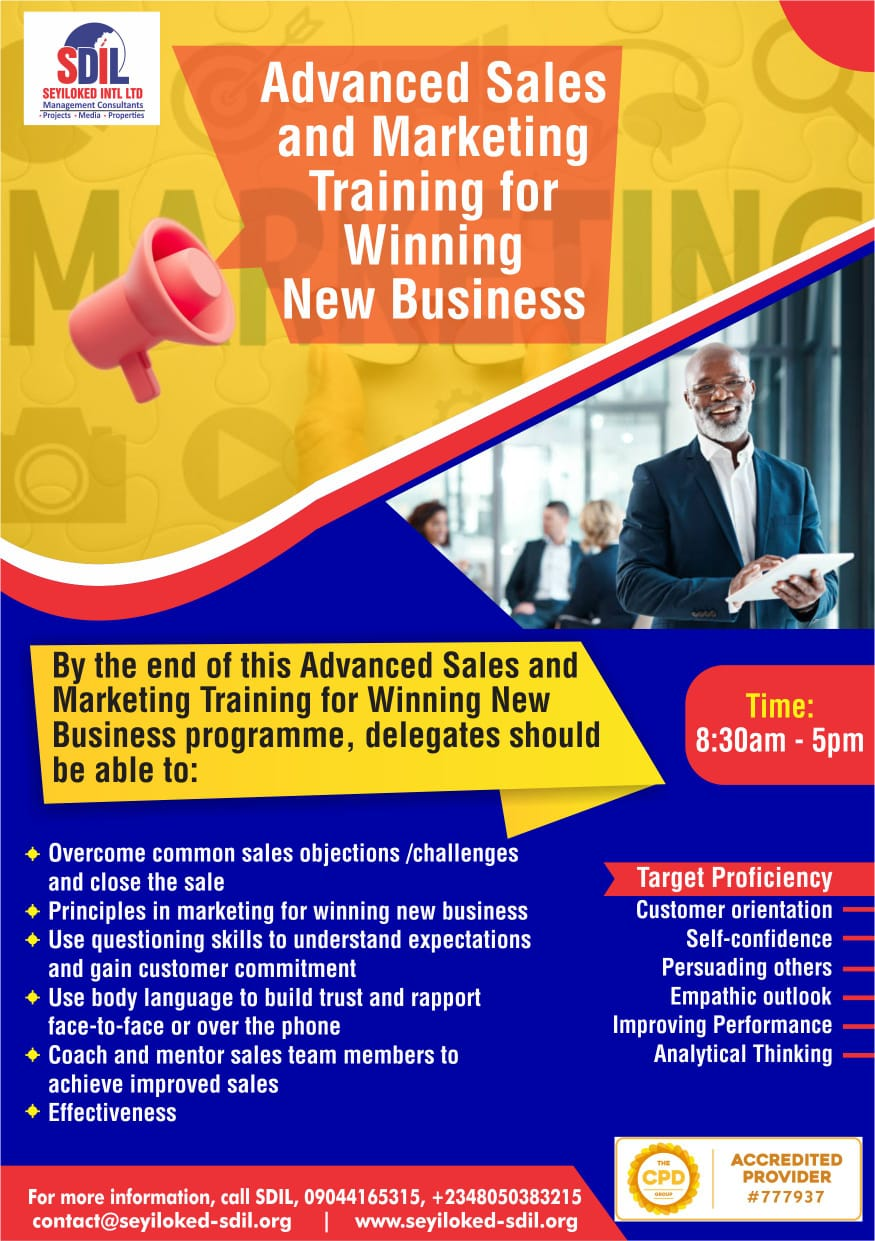 Advanced Sales and Marketing Training for Winning New Business Post free event in Nigeria using tickethub.ng, buy and sell tickets to event