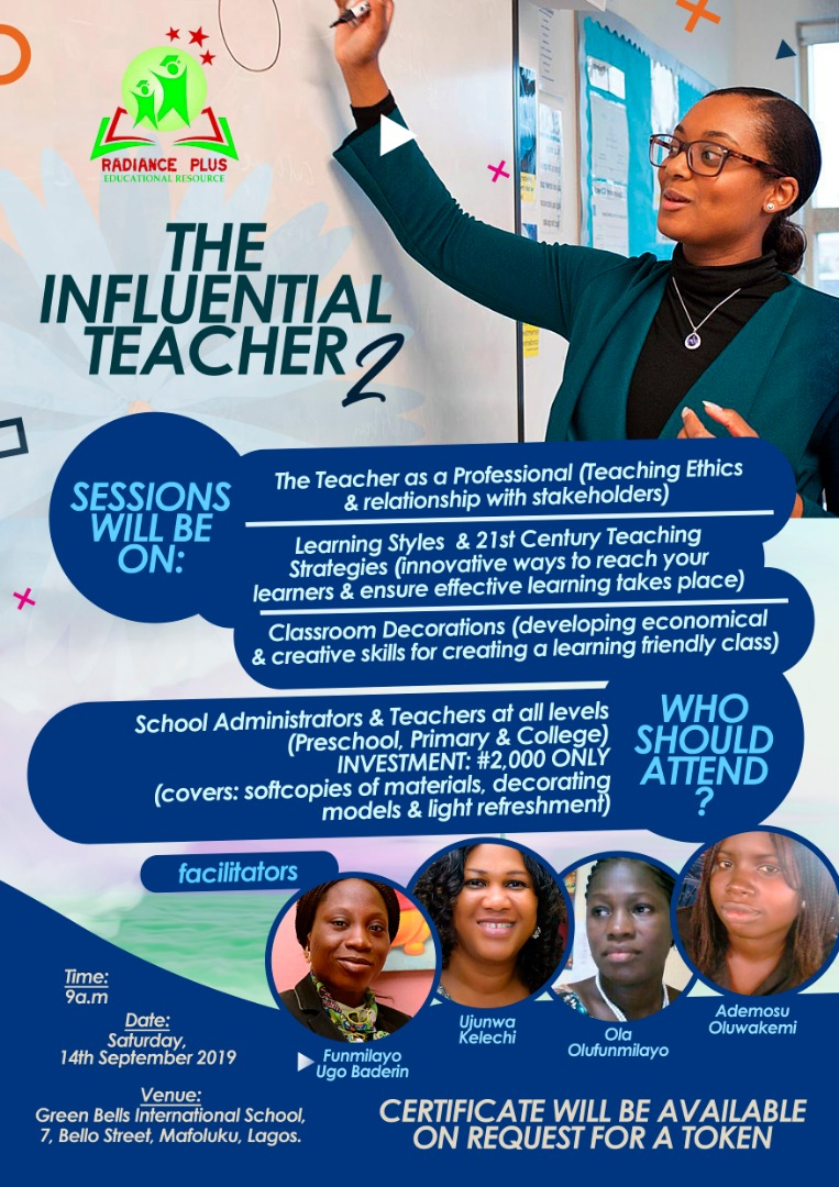 THE INFLUENTIAL TEACHER - Second Edition Post free event in Nigeria using tickethub.ng, buy and sell tickets to event