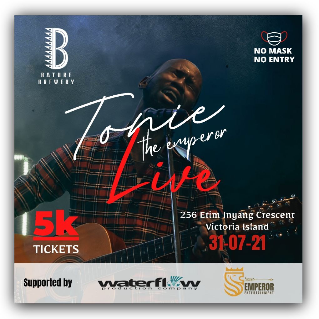 Tonie The Emperor Live Post free event in Nigeria using tickethub.ng, buy and sell tickets to event