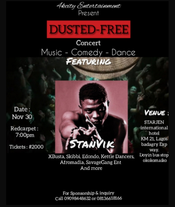 DUSTED FREE CONCERT Post free event in Nigeria using tickethub.ng, buy and sell tickets to event
