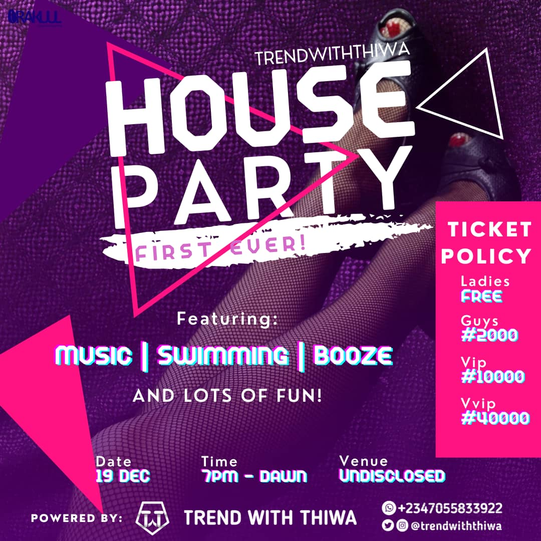 TRENDWITHTHIWA END OF THE YEAR PARTY Post free event in Nigeria using tickethub.ng, buy and sell tickets to event