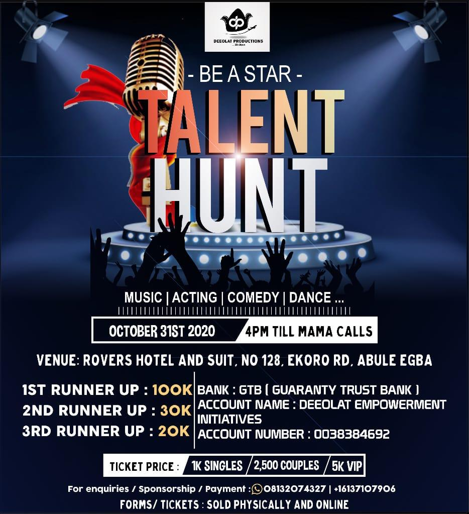 Be A Star Talent Hunt Post free event in Nigeria using tickethub.ng, buy and sell tickets to event