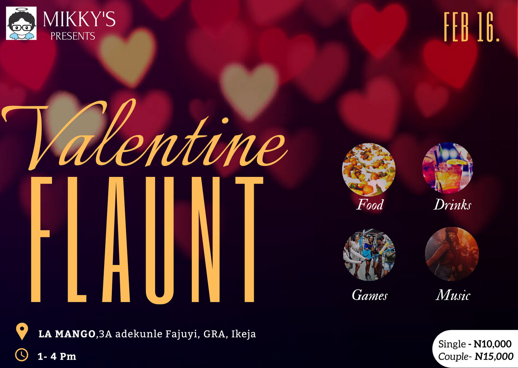 Mikky's Valentine FLAUNT Post free event in Nigeria using tickethub.ng, buy and sell tickets to event