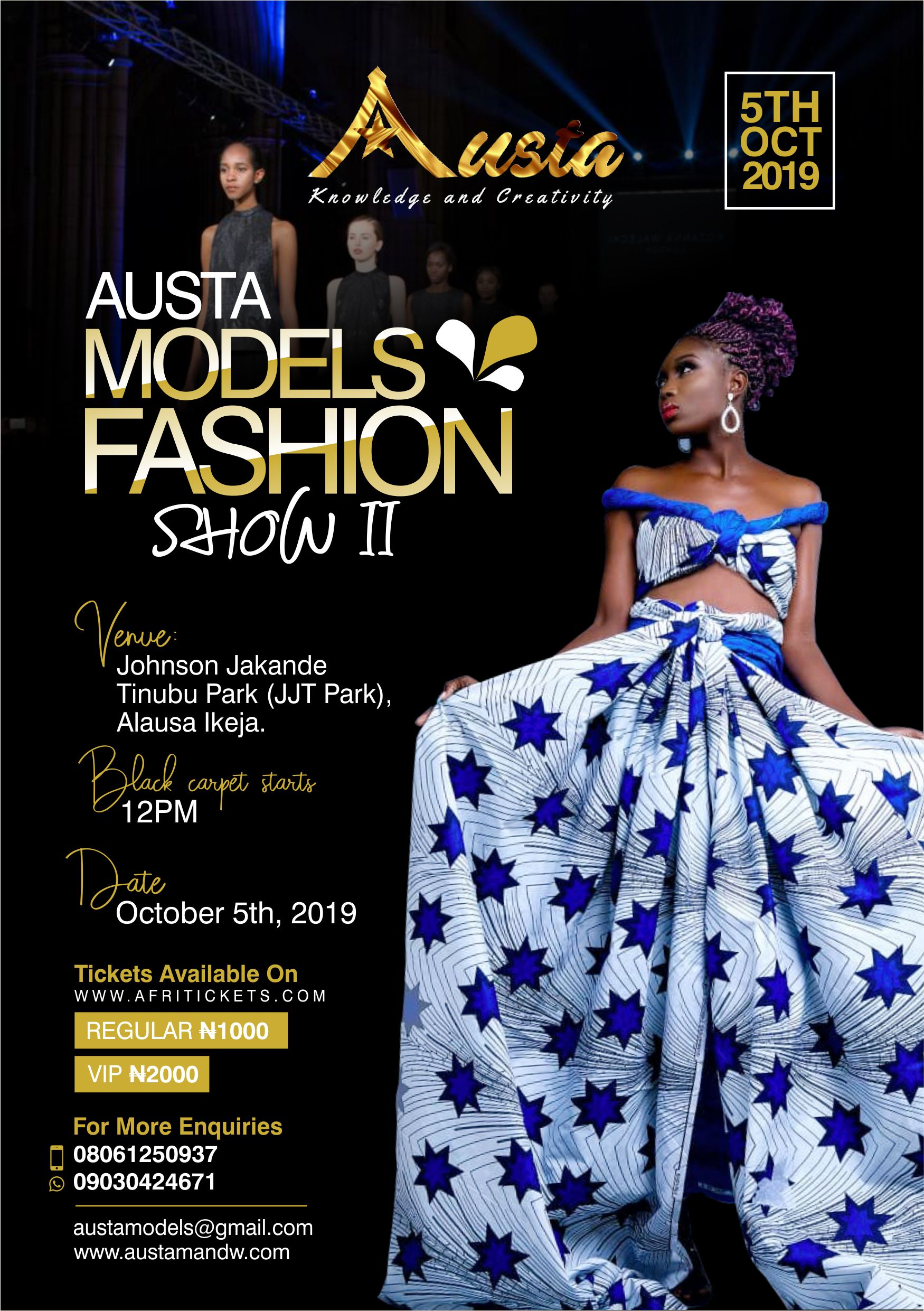 Austa Models Fashion Show II Post free event in Nigeria using tickethub.ng, buy and sell tickets to event