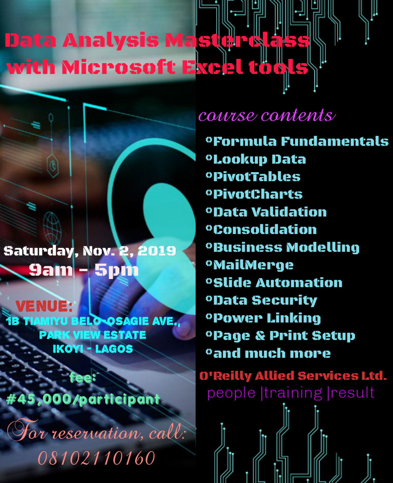 Data Analysis Training with Microsoft Excel tools Post free event in Nigeria using tickethub.ng, buy and sell tickets to event