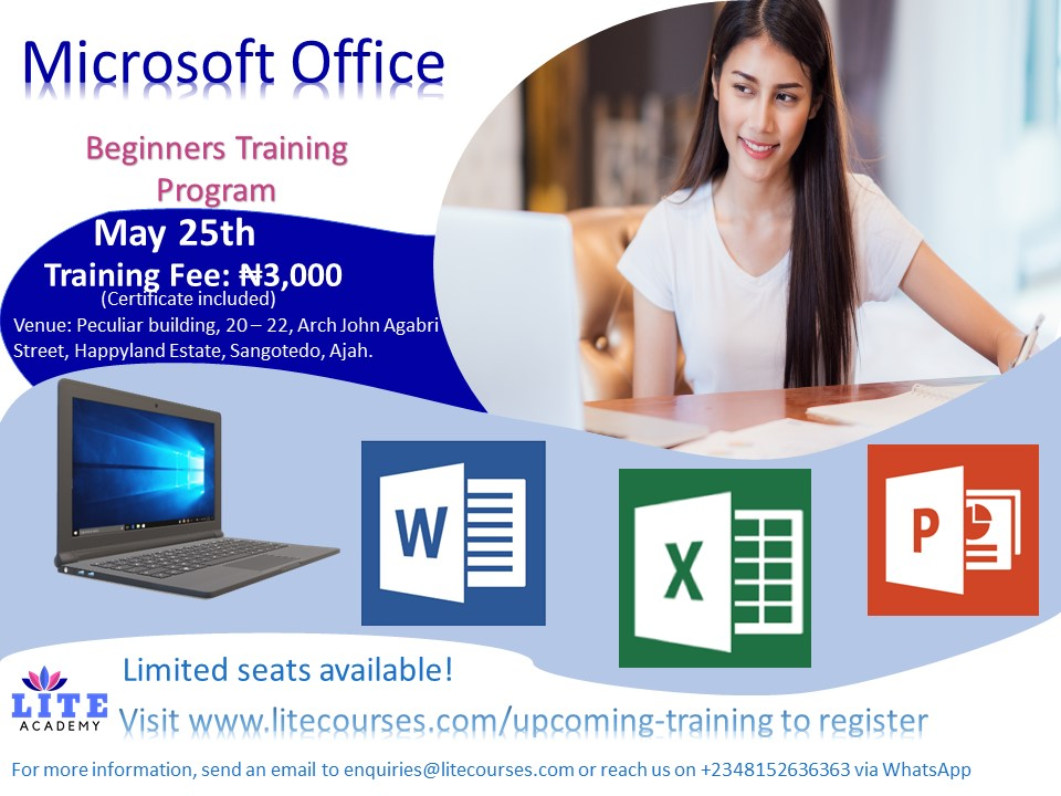Microsoft Office Beginners Training Program Post free event in Nigeria using tickethub.ng, buy and sell tickets to event