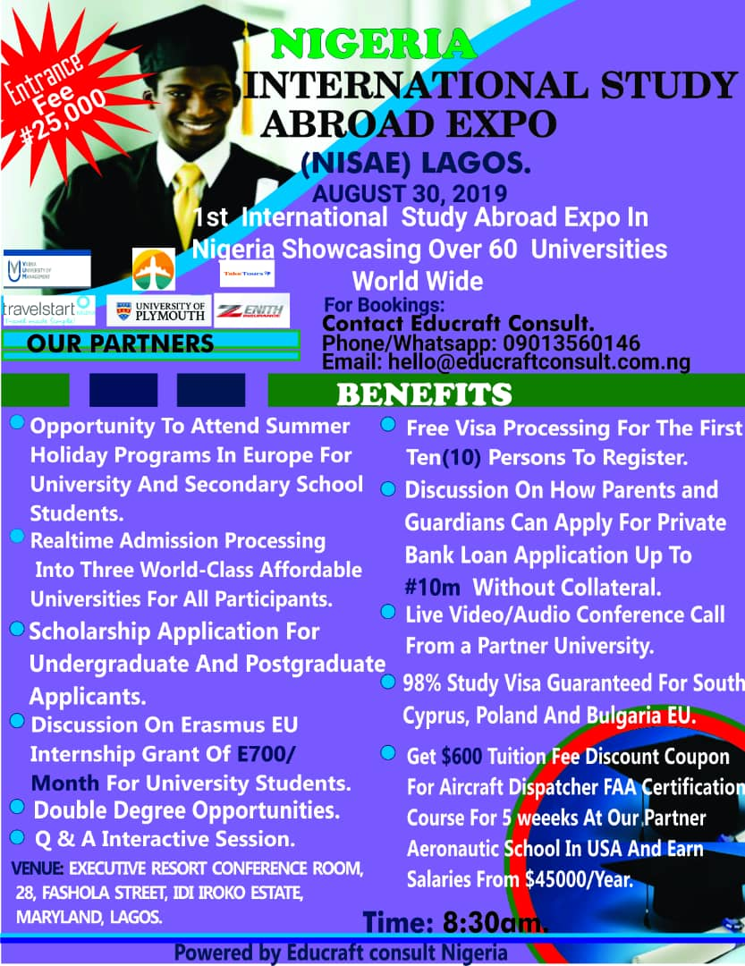 NIGERIA INTERNATIONAL STUDY ABROAD EXPO. (NISAE) Post free event in Nigeria using tickethub.ng, buy and sell tickets to event