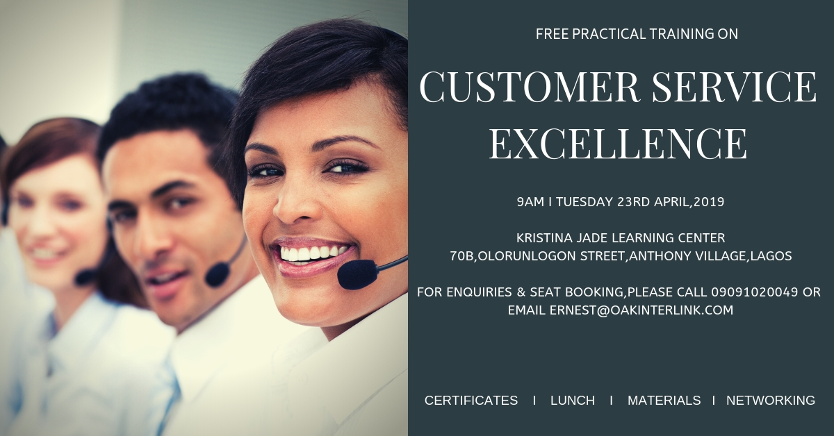 A Free Customer Service Excellence Training Course Post free event in Nigeria using tickethub.ng, buy and sell tickets to event
