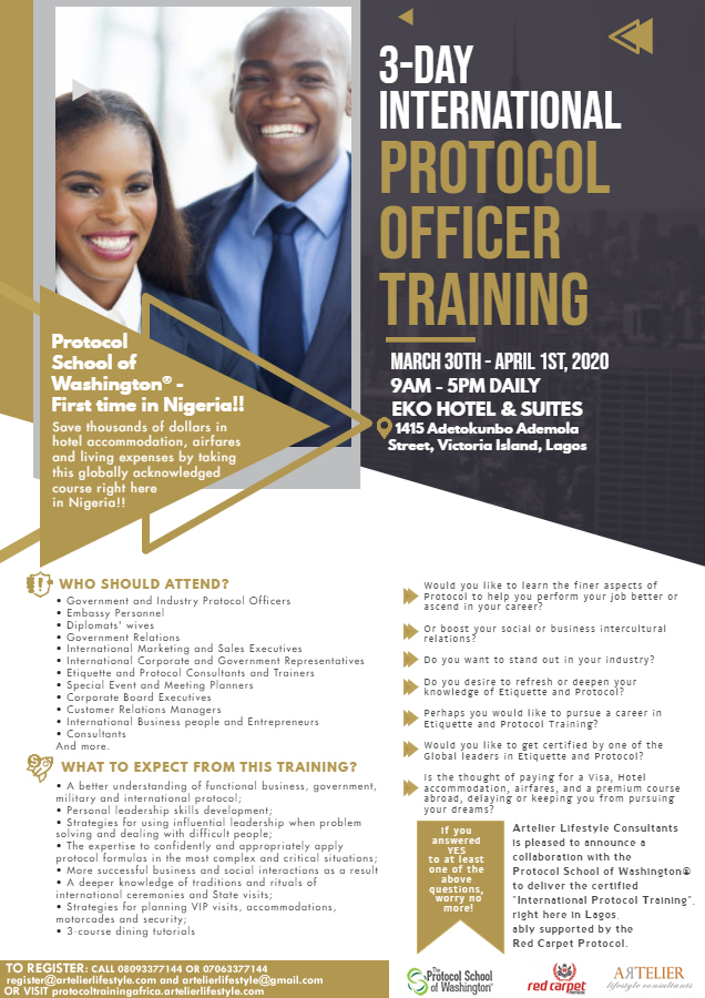 International Protocol Officer Training Post free event in Nigeria using tickethub.ng, buy and sell tickets to event