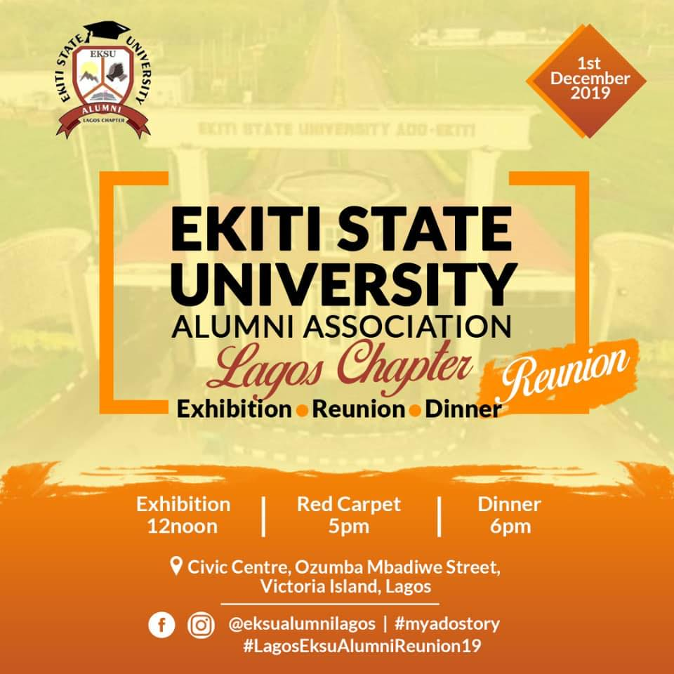 EKSU ALUMNI LAGOS REUNION 2019 Post free event in Nigeria using tickethub.ng, buy and sell tickets to event