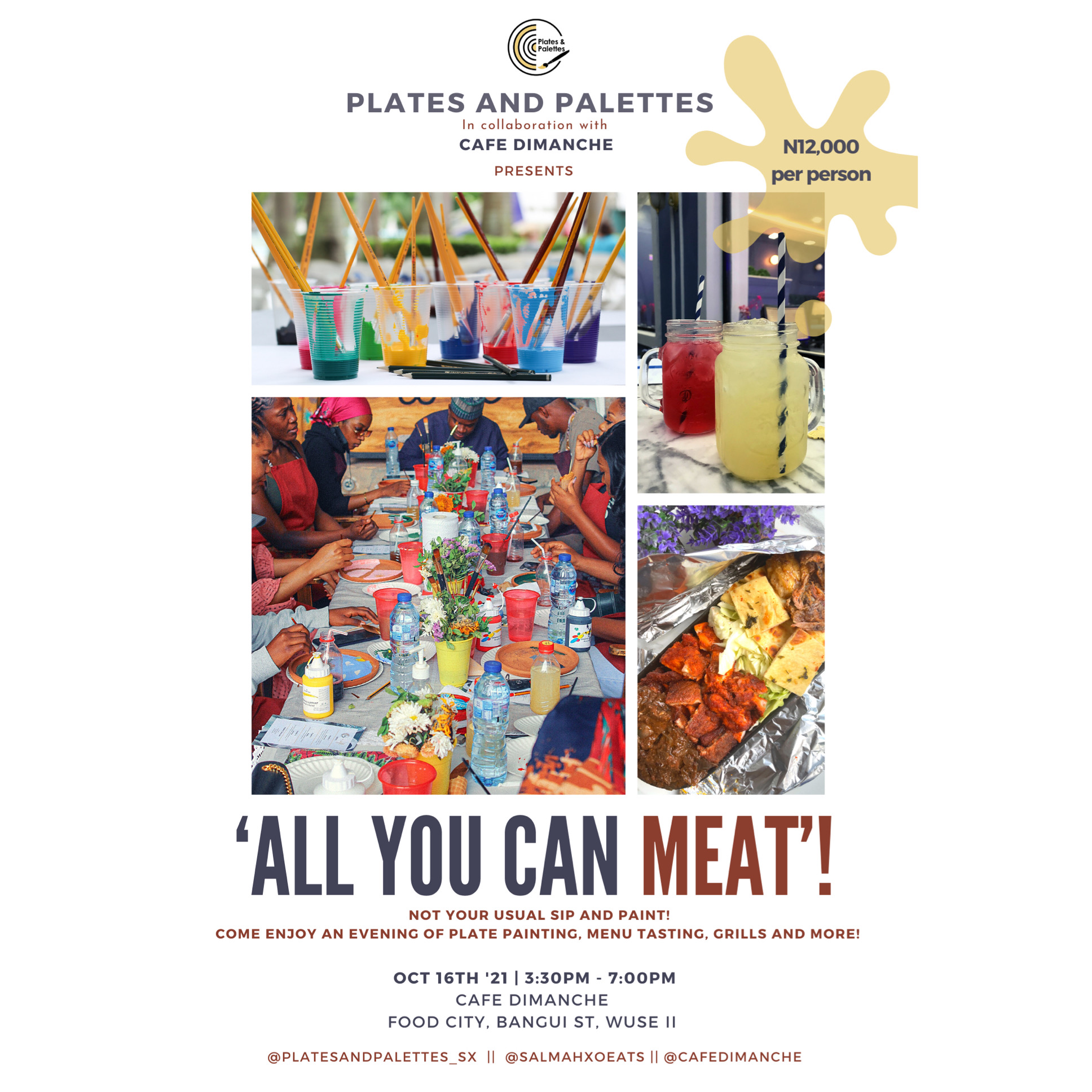 Plates & Palettes VIII - All You Can Meat Post free event in Nigeria using tickethub.ng, buy and sell tickets to event
