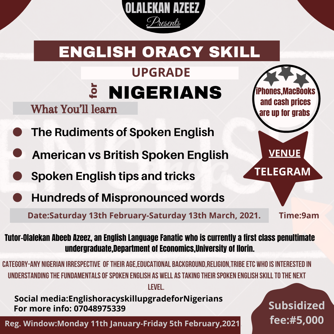 English oracy skill upgrade for nigerians Post free event in Nigeria using tickethub.ng, buy and sell tickets to event
