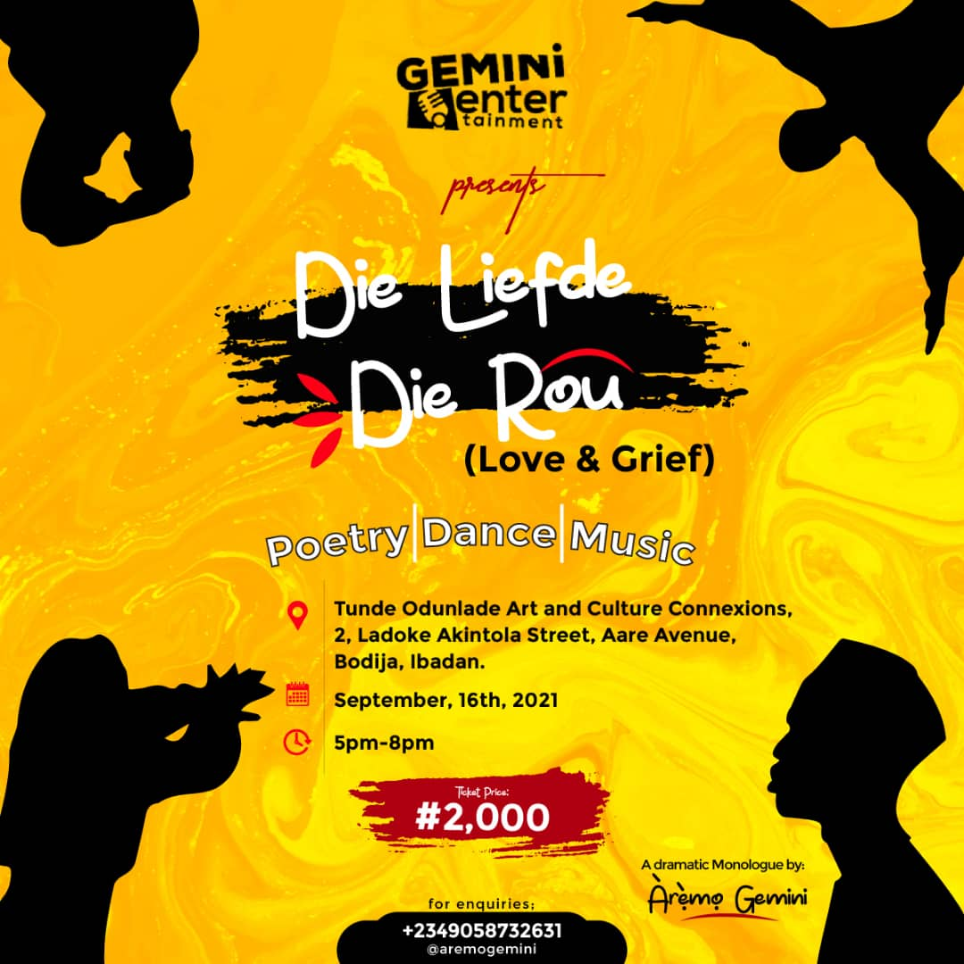 Die Liefde - Die Rou (Love & Grief) Post free event in Nigeria using tickethub.ng, buy and sell tickets to event