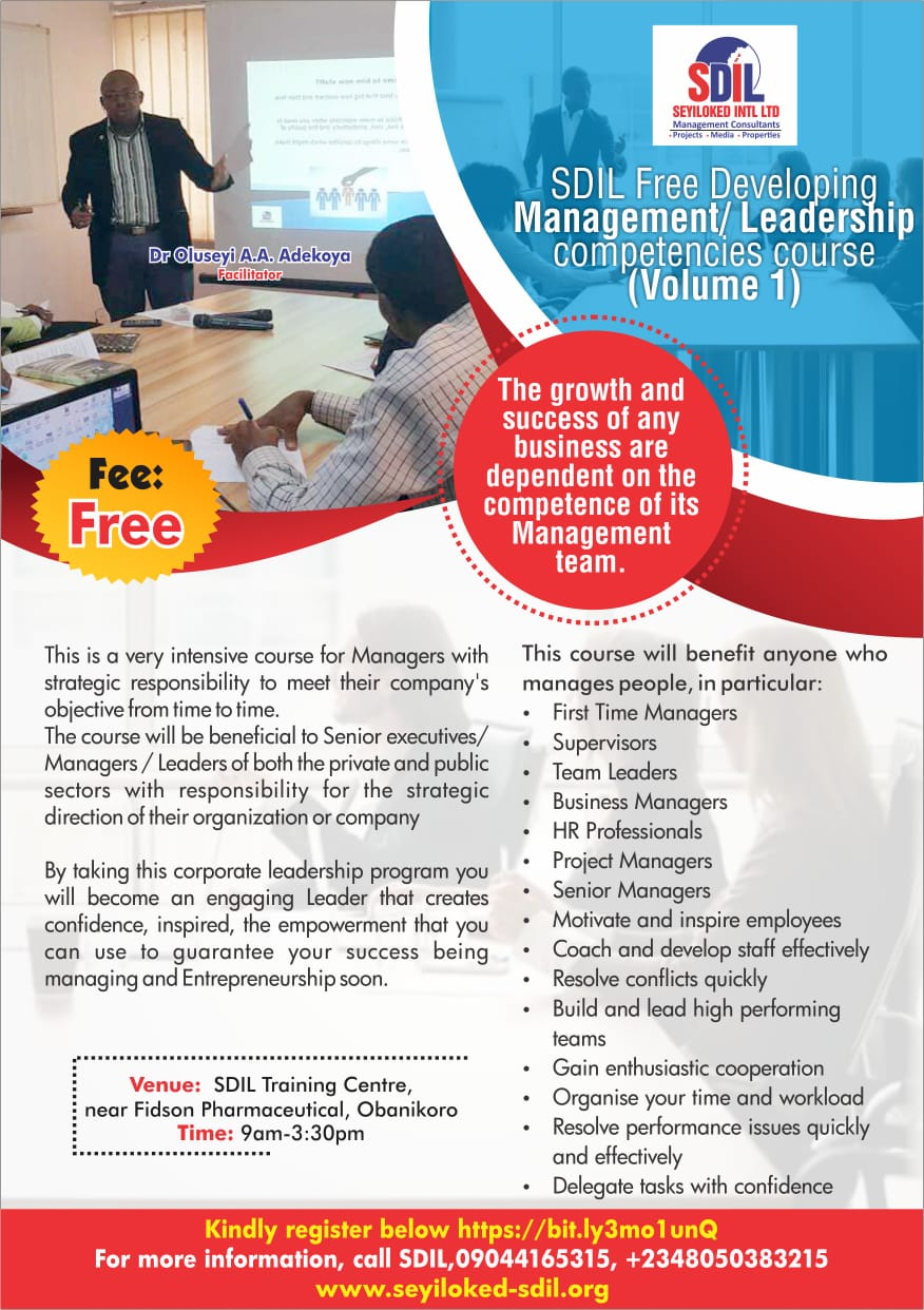 SDIL Free Developing Management/ Leadership competencies course (Volume 1)  Post free event in Nigeria using tickethub.ng, buy and sell tickets to event