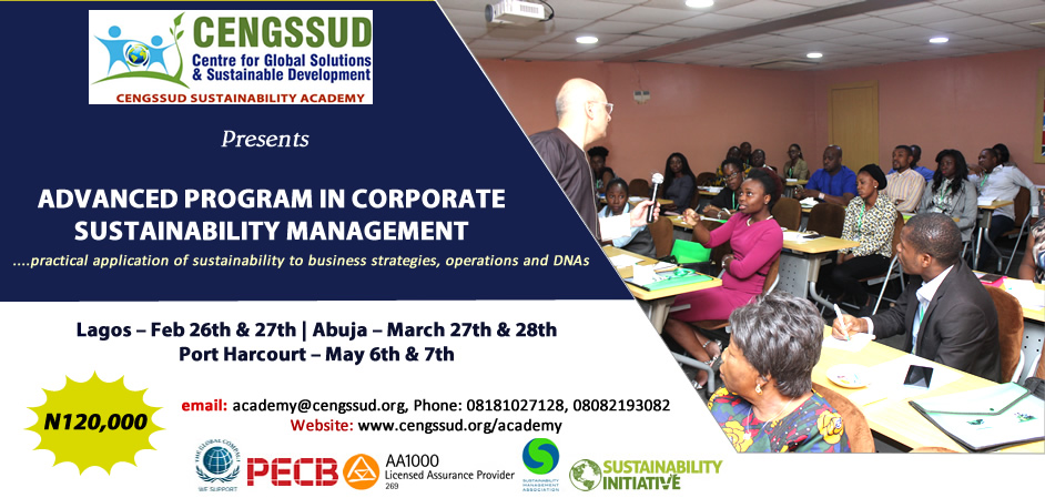 Advanced Program in Corporate Sustainability Management Post free event in Nigeria using tickethub.ng, buy and sell tickets to event