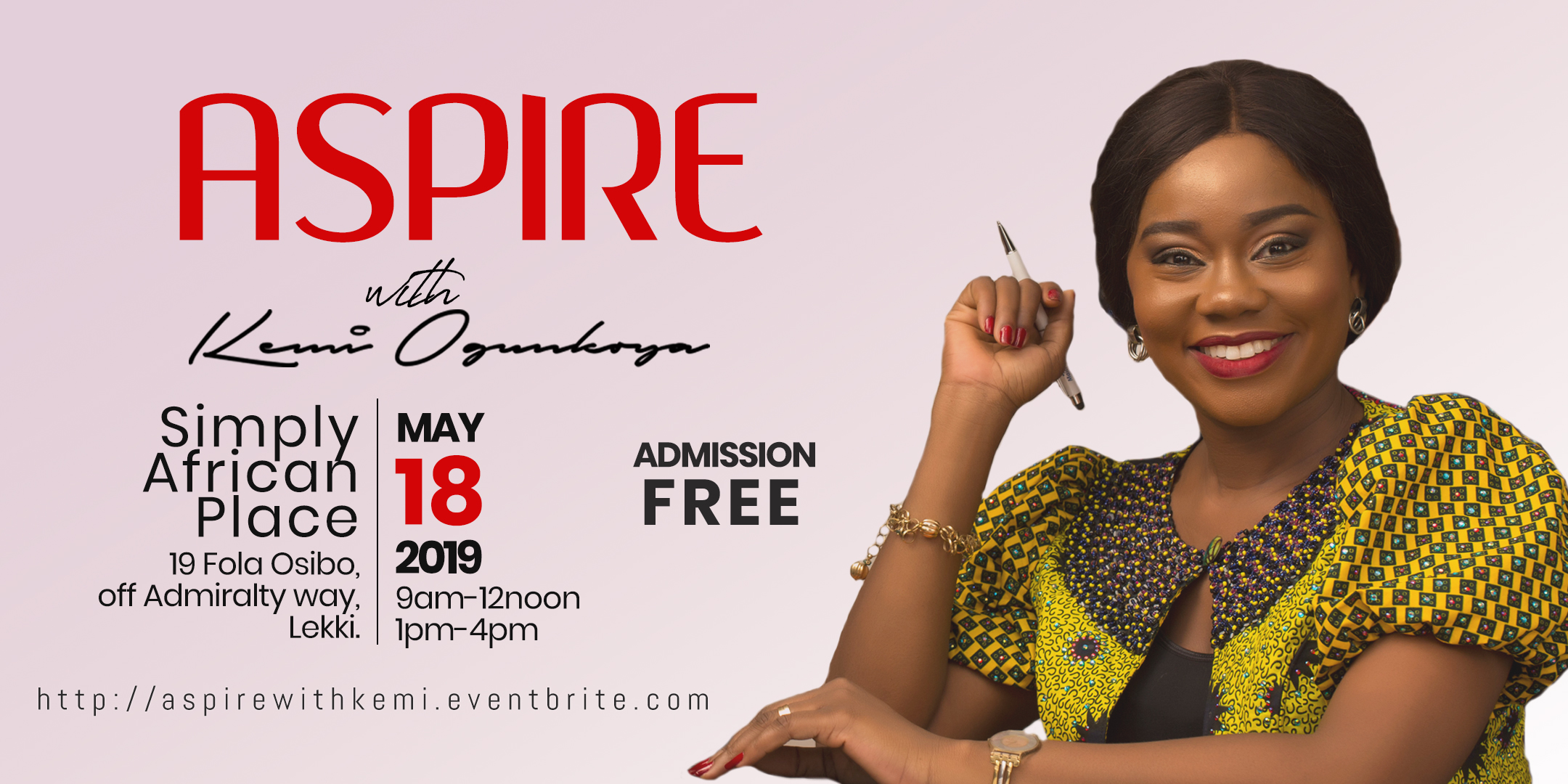 Aspire with Kemi Post free event in Nigeria using tickethub.ng, buy and sell tickets to event