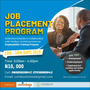 Job Placement Program Post free event in Nigeria using tickethub.ng, buy and sell tickets to event