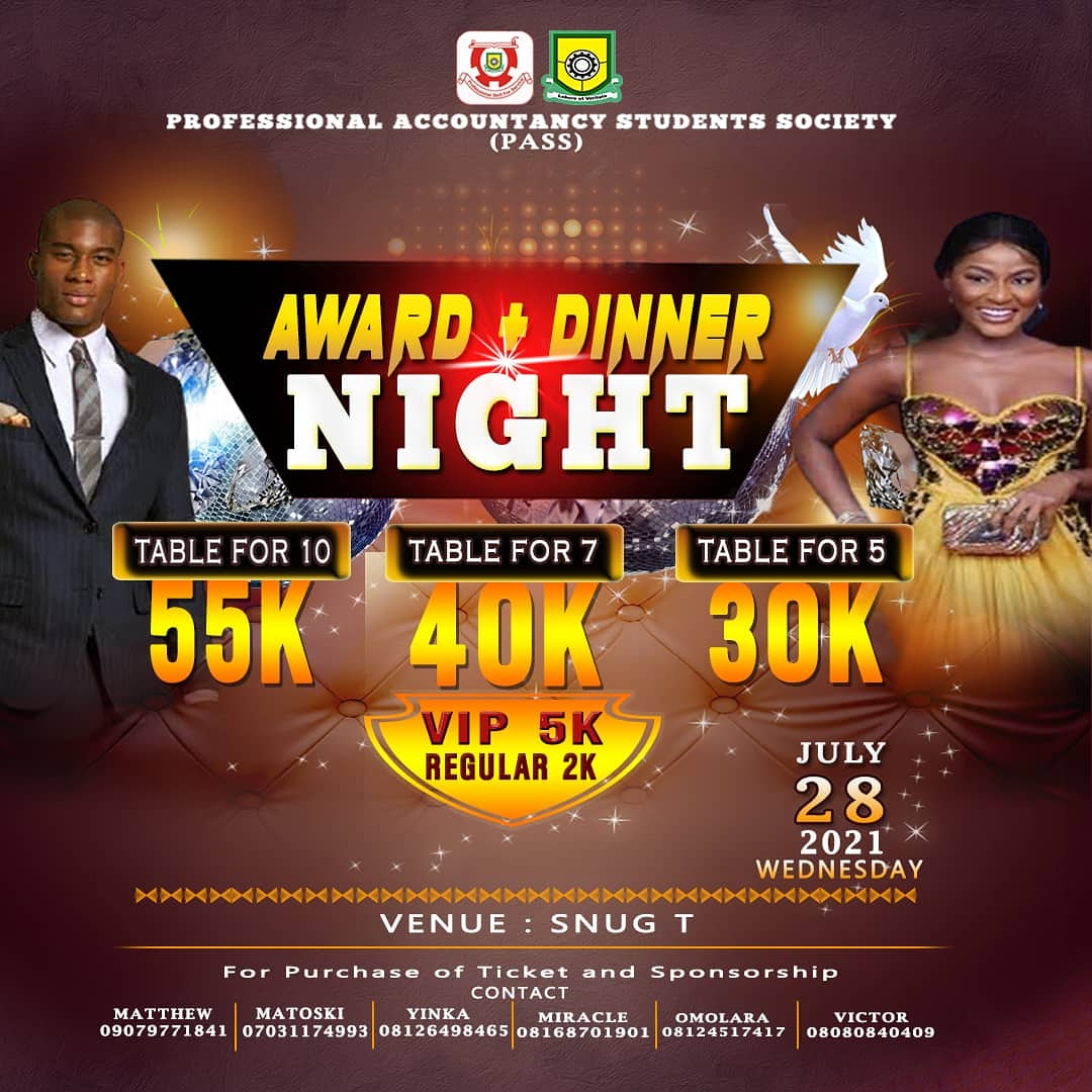 PASS AWARD AND DINNER NIGHT '20 Post free event in Nigeria using tickethub.ng, buy and sell tickets to event