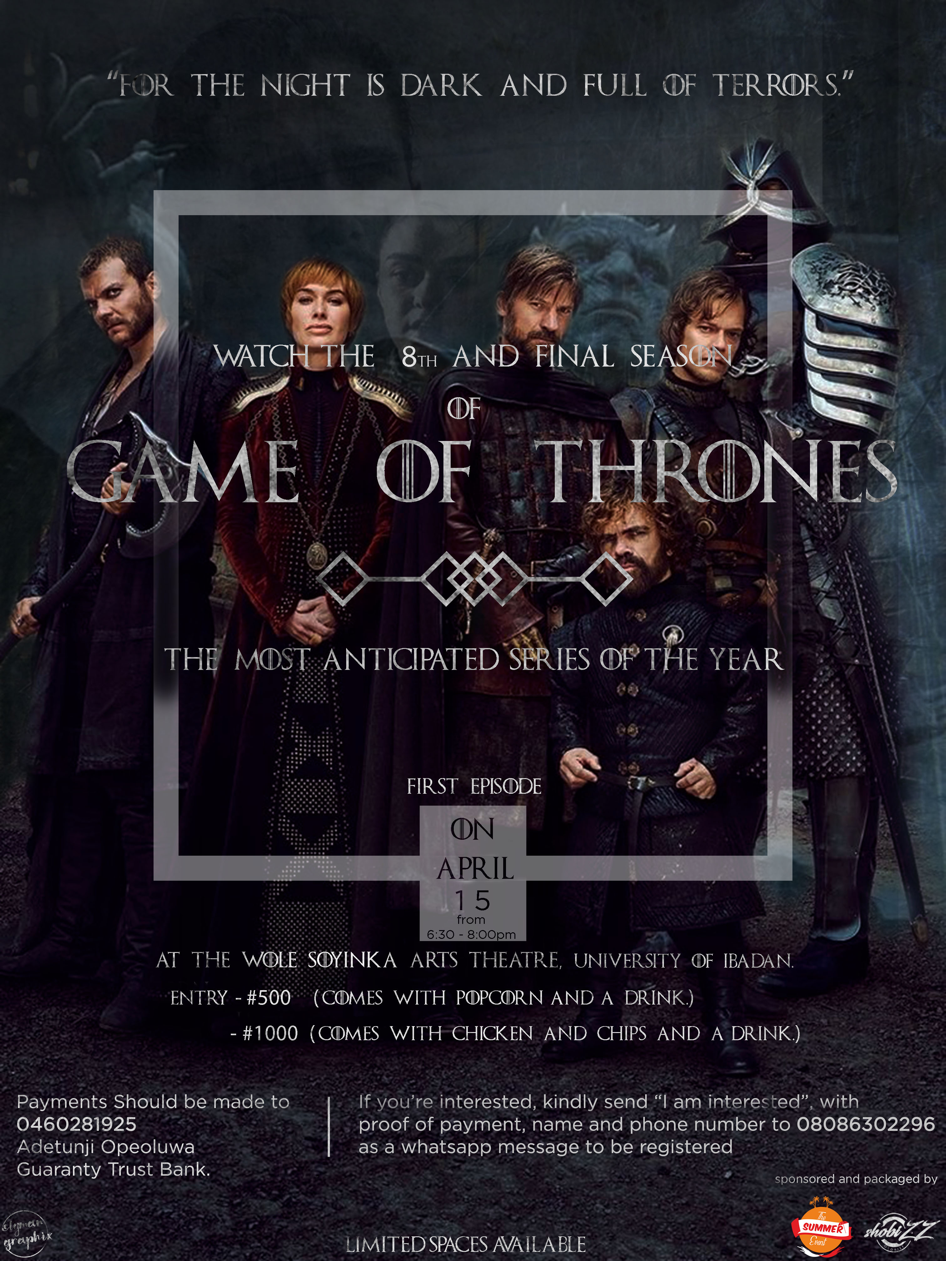 Game of Thrones Season 8 premiere Post free event in Nigeria using tickethub.ng, buy and sell tickets to event