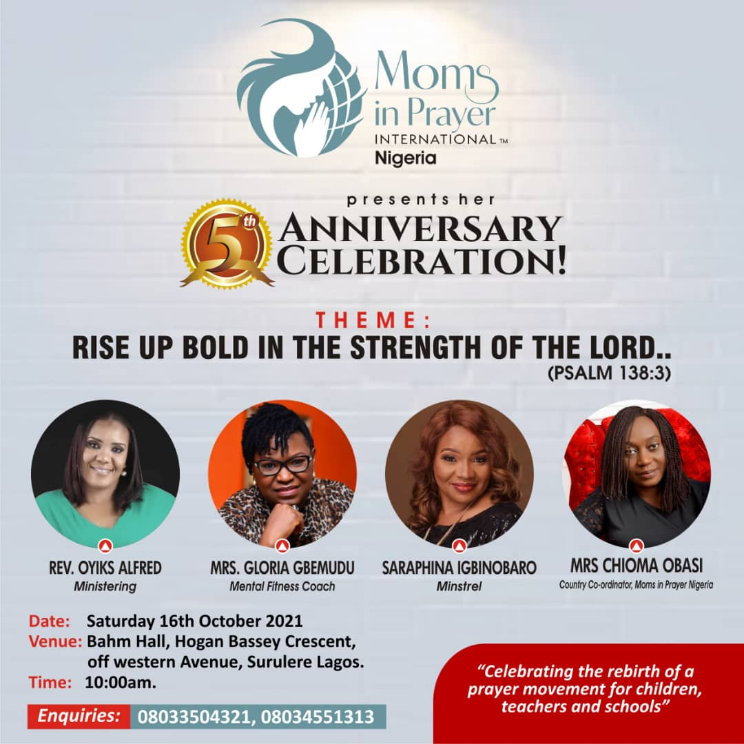 Join Moms in Prayer 5th Anniversary Celebration - More Details Below Post free event in Nigeria using tickethub.ng, buy and sell tickets to event