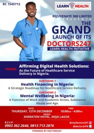 Rejuvenate 360 Limited invites you to the Grand Launch of Her Dr. 247 Learn Health Initiatives