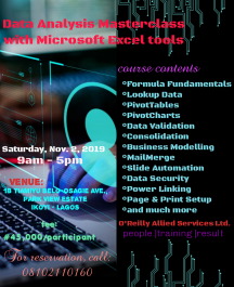 Data Analysis Training with Microsoft Excel tools