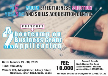 BOOTCAMP ON BUSINESS GRANT APPLICATION