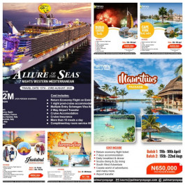 Register now to Enjoy Any of These Vacations with Palmary Voyage